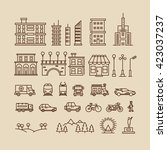 line elements of city.... | Shutterstock .eps vector #423037237