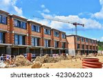 crane and construction of new... | Shutterstock . vector #423062023