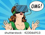 Stock vector omg emotions from virtual reality retro girl 423066913