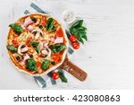 tasty italian hot pizza on... | Shutterstock . vector #423080863