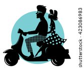 happy couple on a scooter.... | Shutterstock .eps vector #423086983