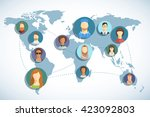 avatar icons on the map.... | Shutterstock .eps vector #423092803