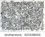 dancing party pattern with... | Shutterstock .eps vector #423108433