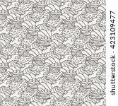 muffins seamless pattern. cakes ... | Shutterstock . vector #423109477