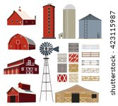 farm building vector set | Shutterstock .eps vector #423115987