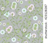 floral seamless pattern in... | Shutterstock . vector #423128287