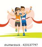 male and female runner cross...