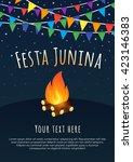 festa junina poster with flags... | Shutterstock .eps vector #423146383