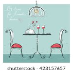 romantic dinner for two lovers... | Shutterstock .eps vector #423157657