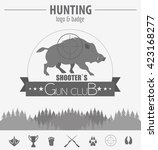 hunting logo and badge template.... | Shutterstock .eps vector #423168277