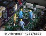 selective focus of miniature... | Shutterstock . vector #423176833