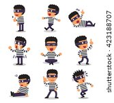 cartoon thief character poses | Shutterstock .eps vector #423188707