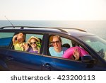 mother with two kids travel by... | Shutterstock . vector #423200113