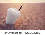close up plastic white coffee... | Shutterstock . vector #423202387
