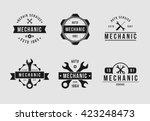 mechanic logo set white