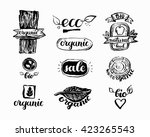 hand drawn farm fresh logo set. ... | Shutterstock .eps vector #423265543