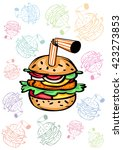 pattern hamburger with a straw | Shutterstock .eps vector #423273853