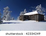 mountain house in snow  winter... | Shutterstock . vector #42334249