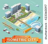 build your own isometric city.... | Shutterstock .eps vector #423360097