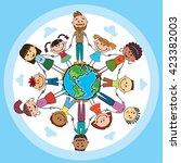 globe kids. international... | Shutterstock .eps vector #423382003