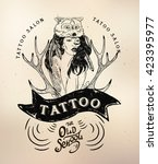 tattoo girl old school studio... | Shutterstock .eps vector #423395977