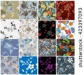 flower floral 12 pattern  | Shutterstock . vector #423397093