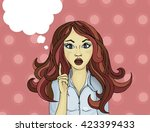 surprised and enthusiastic... | Shutterstock . vector #423399433