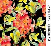 tropical flowers pattern.... | Shutterstock . vector #423446527