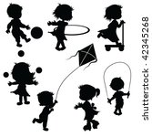 silhouettes children playing | Shutterstock .eps vector #42345268