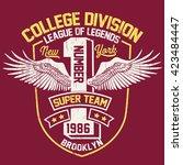 college new york typography  t... | Shutterstock .eps vector #423484447
