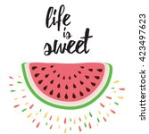 vector print with watermelon... | Shutterstock .eps vector #423497623