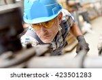 metalworker with hardhat... | Shutterstock . vector #423501283