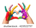 child's hand painted watercolor ... | Shutterstock . vector #423522757