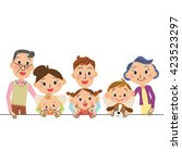 close three generation family | Shutterstock .eps vector #423523297
