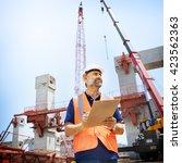 construction worker planning... | Shutterstock . vector #423562363