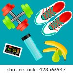 vector  set of fitness tools ... | Shutterstock .eps vector #423566947