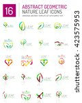 geometric leaf icon set. thin... | Shutterstock .eps vector #423575953