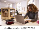 female designer working with 3d ... | Shutterstock . vector #423576733
