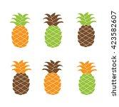 Pineapple Icon. Pineapple Set....