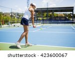 Beautiful female tennis player...