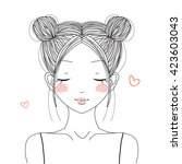 Hand Drawn Cute Girl With...