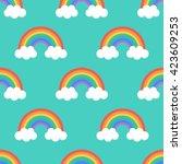 flat design  cartoon rainbow... | Shutterstock .eps vector #423609253