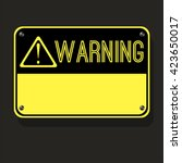 plate warning sign on bolts.... | Shutterstock .eps vector #423650017
