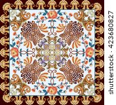 bandanna with paisley  leopard... | Shutterstock .eps vector #423680827
