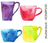 a set of cups. ceramics....   Shutterstock . vector #423689143