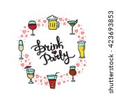 beverages doodle style circle... | Shutterstock . vector #423693853