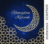 Ramadan Greeting Card On Blue...