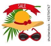 womens hat  sunglasses  palm... | Shutterstock .eps vector #423704767