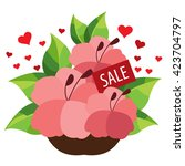 sale. bouquet of flowers. | Shutterstock .eps vector #423704797