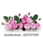 decorative frame with pink... | Shutterstock . vector #423707293